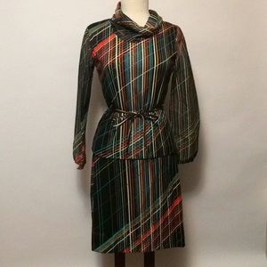 Vintage Colorful Blouse and Skirt Set